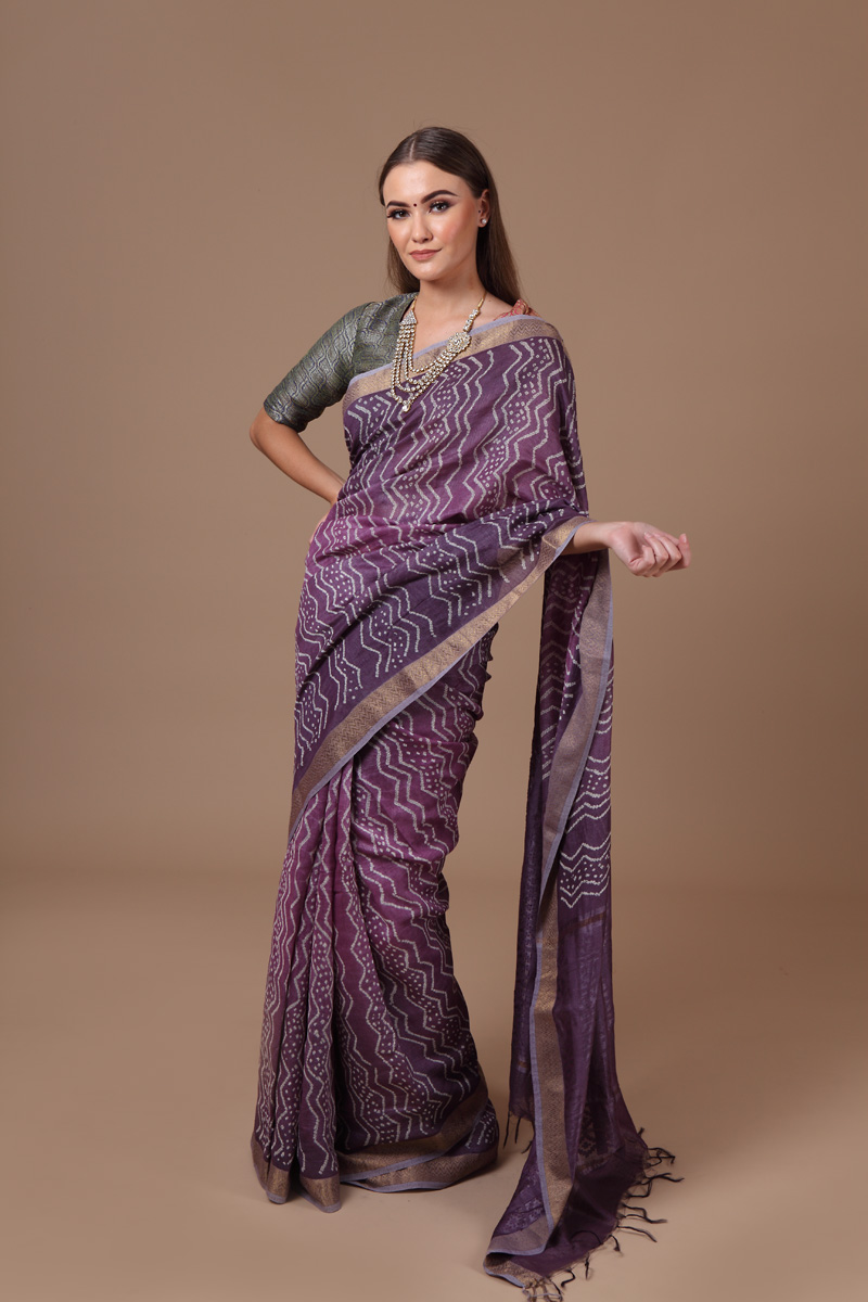 pure-hand-woven-tussar-linen-silk-purple-coloured-bandhej-saree