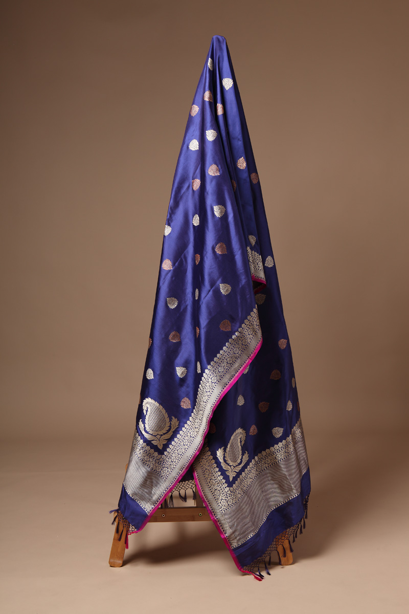 pure-hand-woven-blue-purple-benarasi-katan-silk-dupatta-with-kadhwa-butis