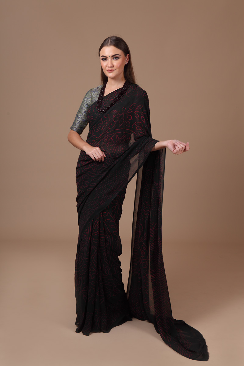 pure-benarasi-georgette-black-saree-with-red-bandhej