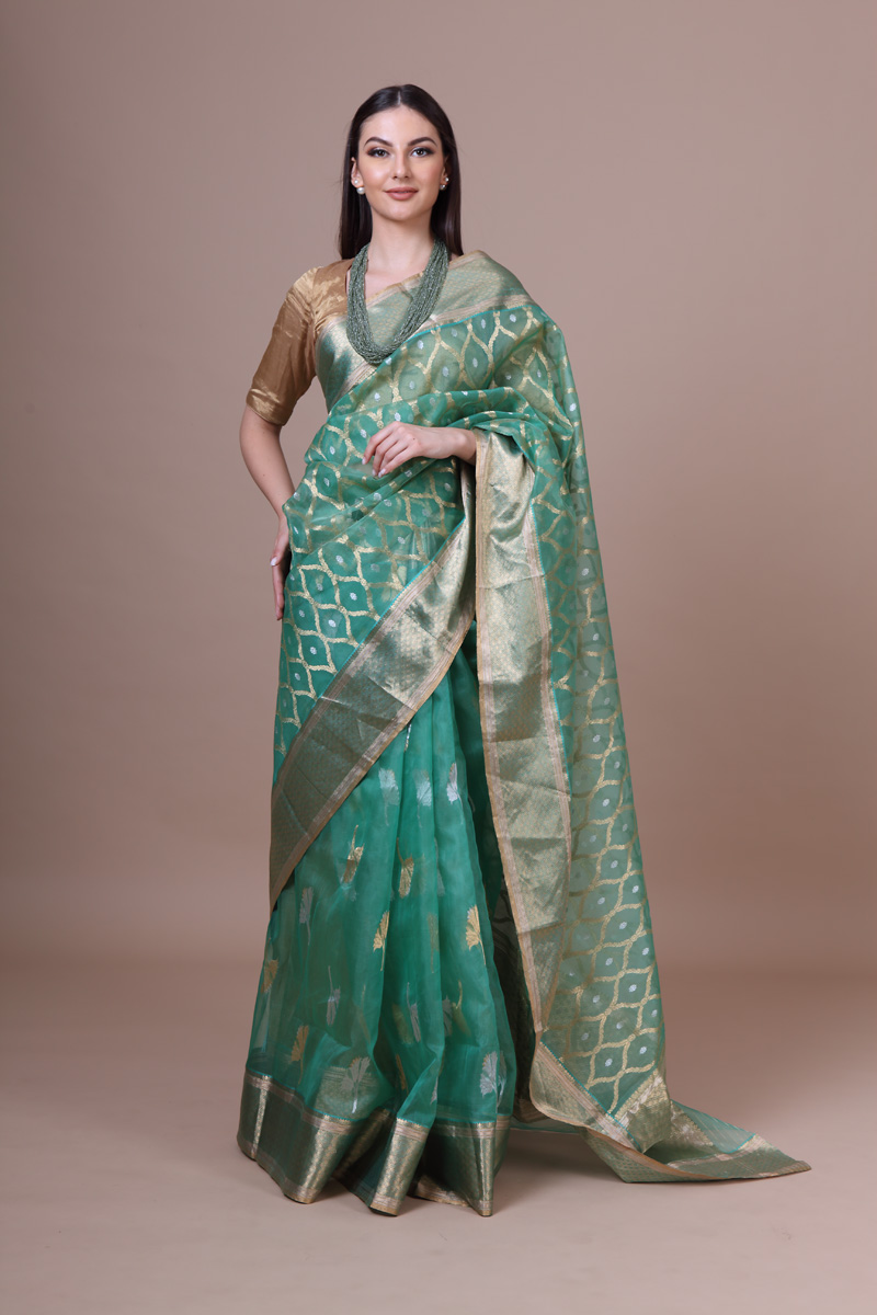 pure-hand-woven-green-chanderi-katan-silk-saree-with-flower-butis-jangla-pallav-with-dadidar-border