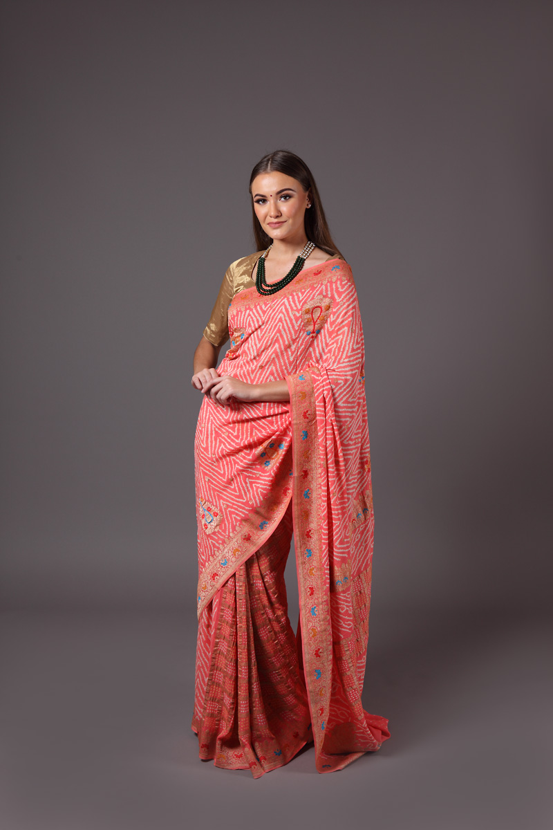 pure-hand-woven-benarasi-georgette-peach-bandhej-saree-with-meenakari-weave