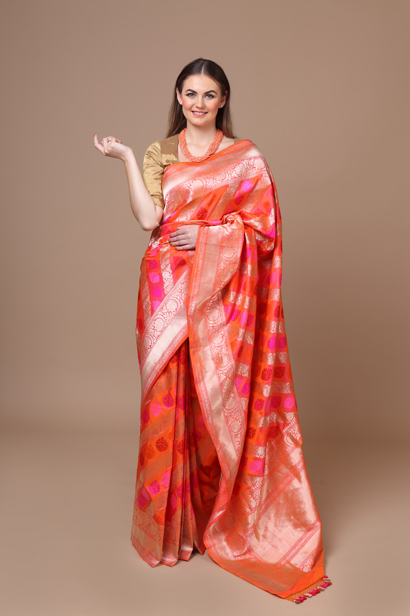 pure-hand-woven-benarasi-peach-katan-silk-saree-with-kadhwa-jangla