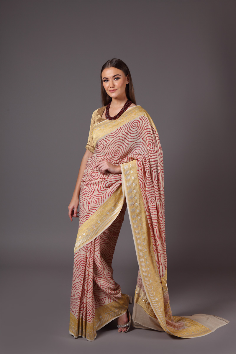 pure-hand-woven-benarasi-georgette-light-beige-bandhej-saree