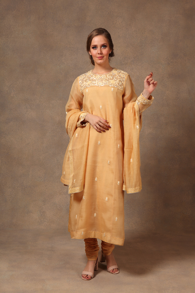 hand-embroidered-chanderi-yellow-pure-katan-silk-suit-set