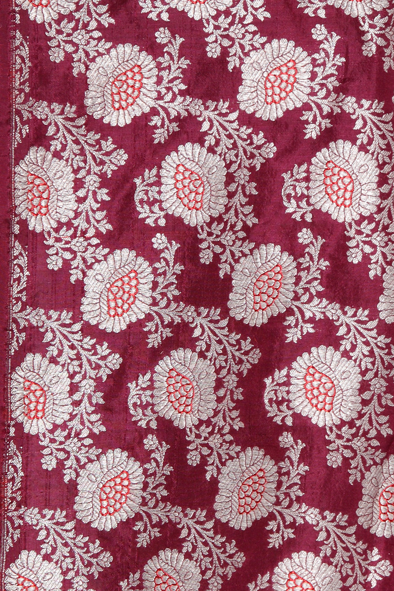 pure-hand-woven-wine-coloured-benarasi-silk-fabric-with-meenakari-jangla