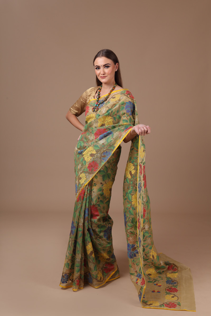 pure-hand-woven-benarasi-olive-green-multi-coloured-real-zari-kora-silk-jamdani-saree