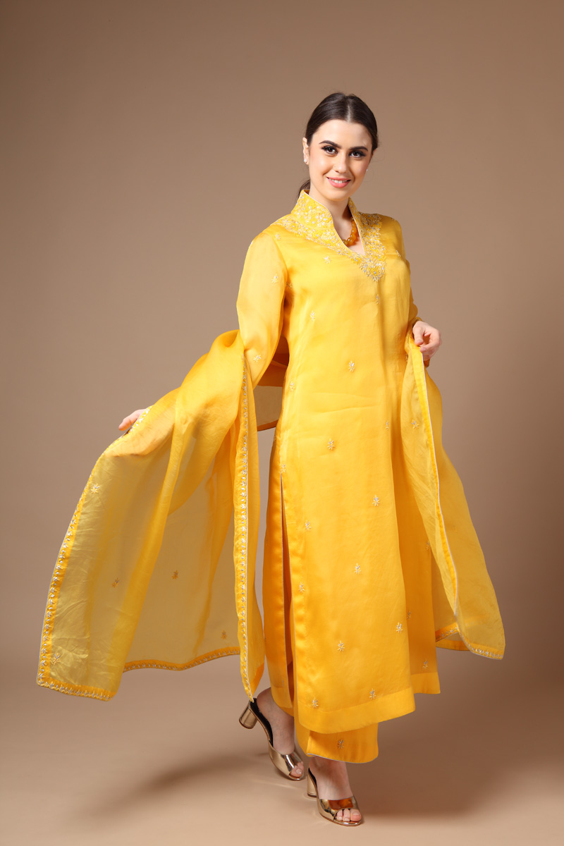 yellow-pure-silk-organza-suit-set