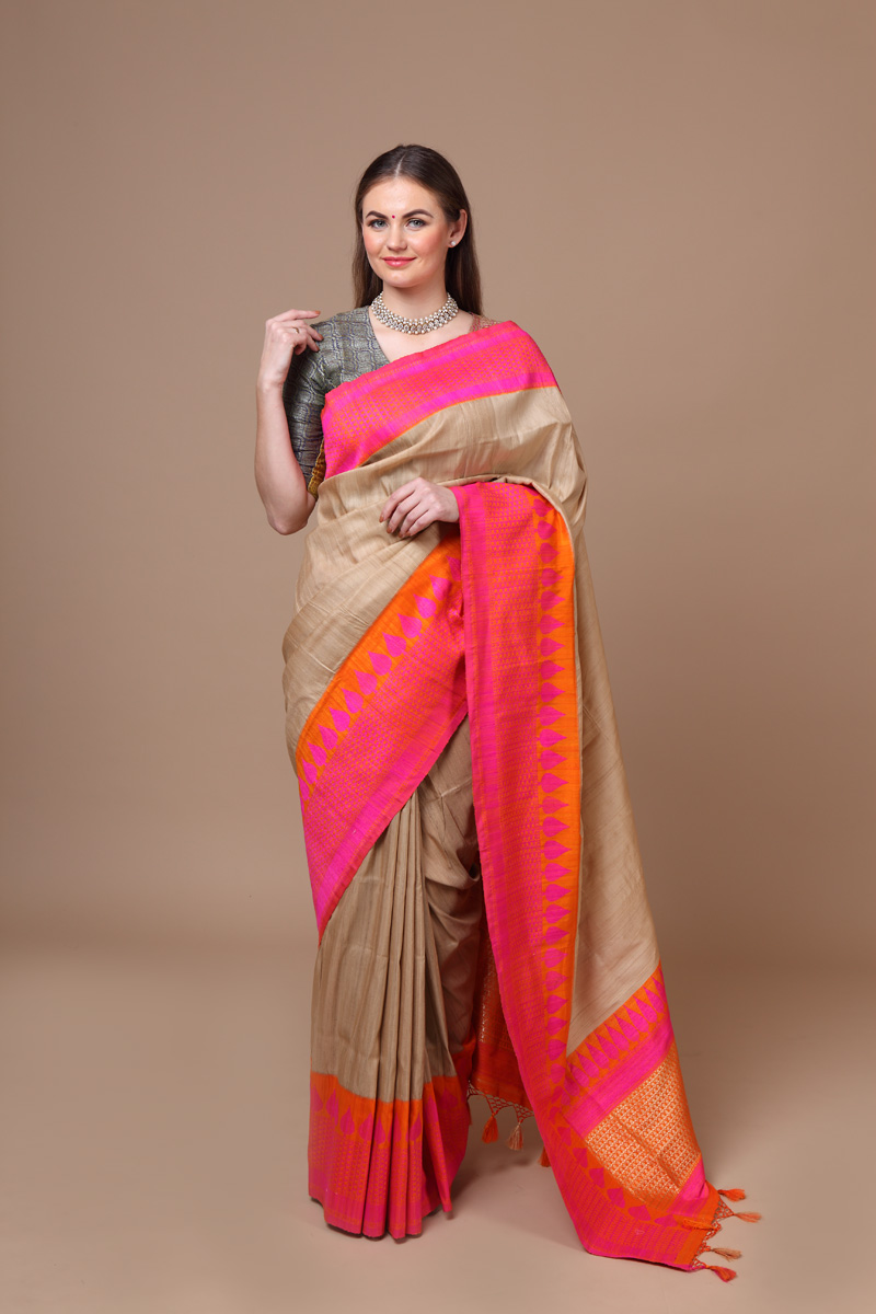 pure-hand-woven-benarasi-tussar-silk-saree-with-pink-peach-border
