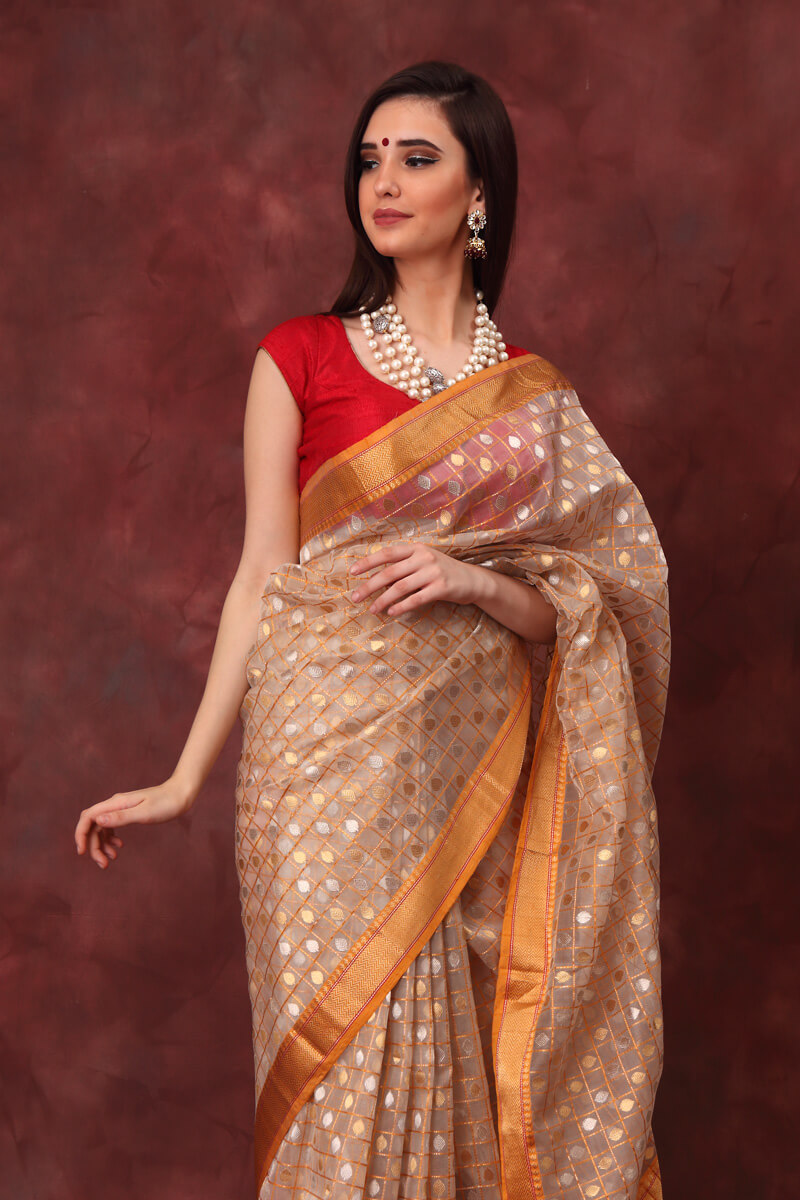 hand-woven-chanderi-off-white-yellow-katan-silk-saree-with-all-over-eknaliye-checks-leaf-buti