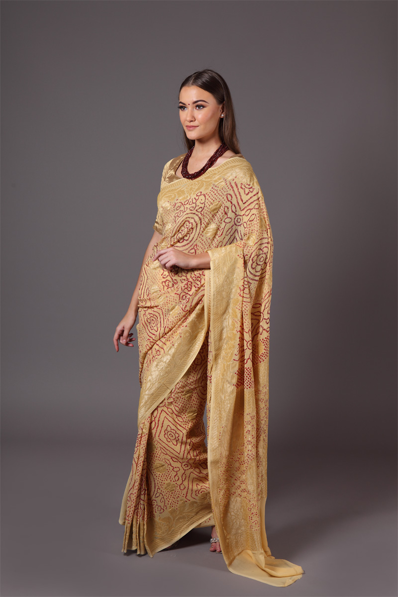 pure-hand-woven-benarasi-georgette-light-yellow-bandhej-saree