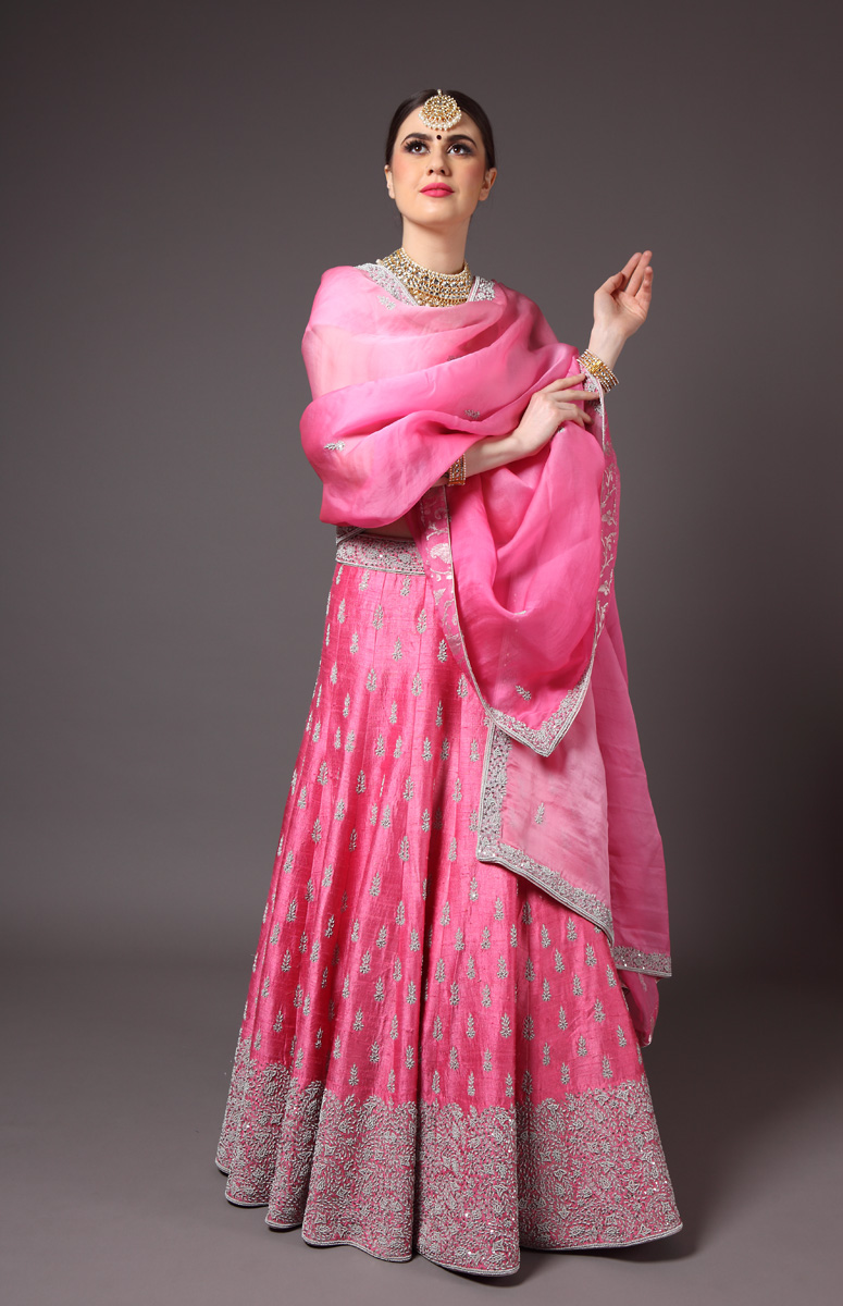pure-hand-woven-raw-silk-pink-lehnga-blouse-with-pure-silk-organza-ombre-dupatta