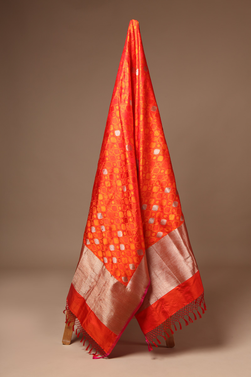 pure-hand-woven-benarasi-orange-multi-coloured-tanchoi-silk-dupatta