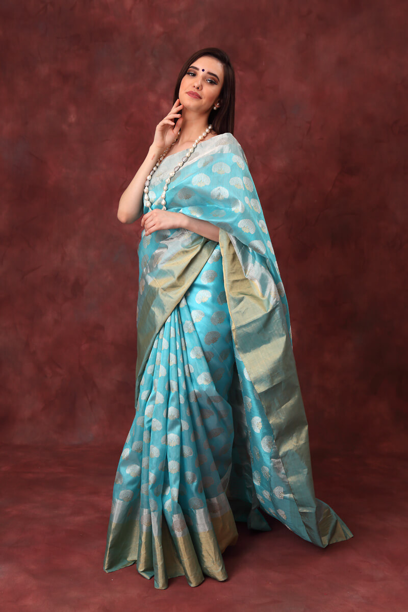 hand-woven-chanderi-light-blue-pure-katan-silk-saree-with-all-over-eknaliye-butis