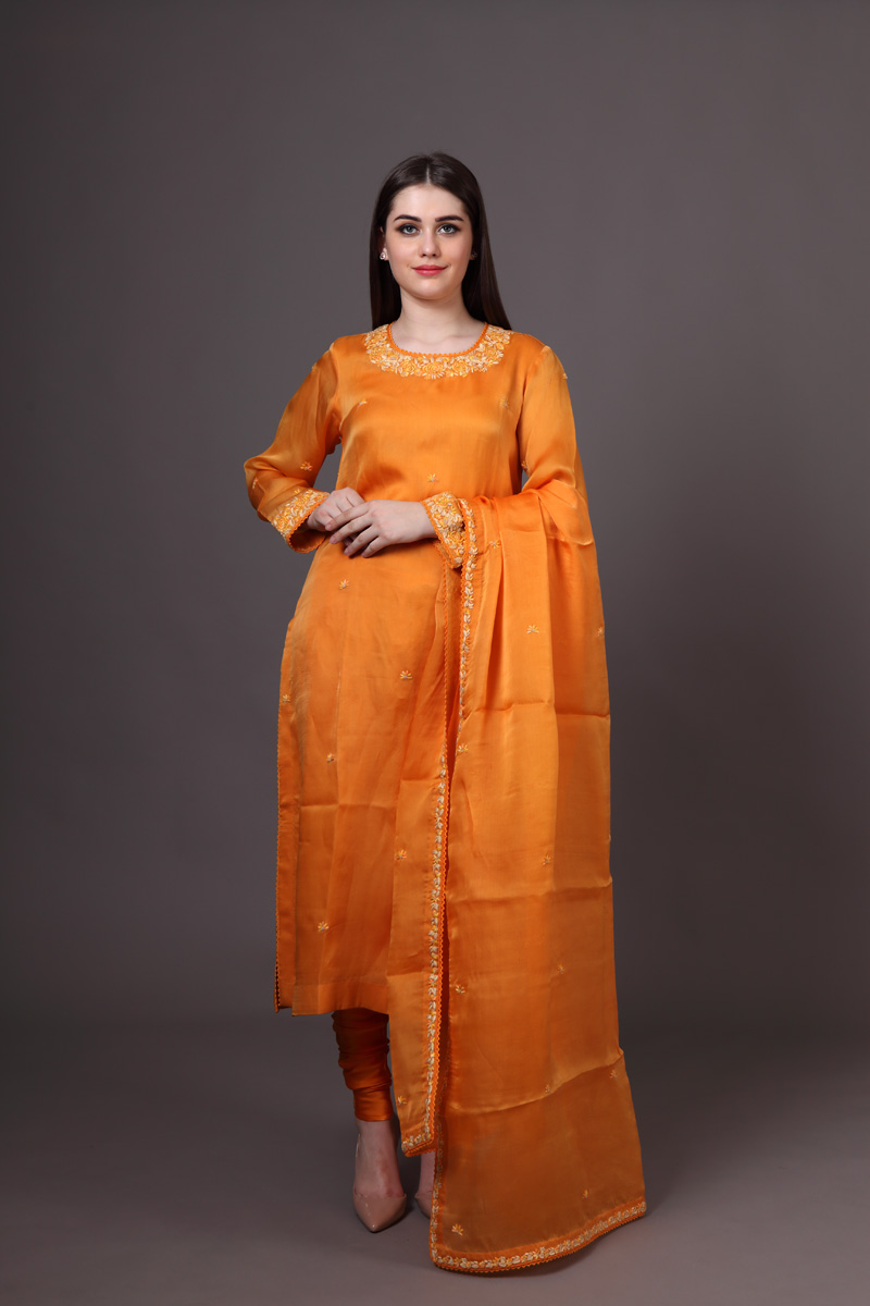 burnt-orange-pure-silk-organza-suit-set