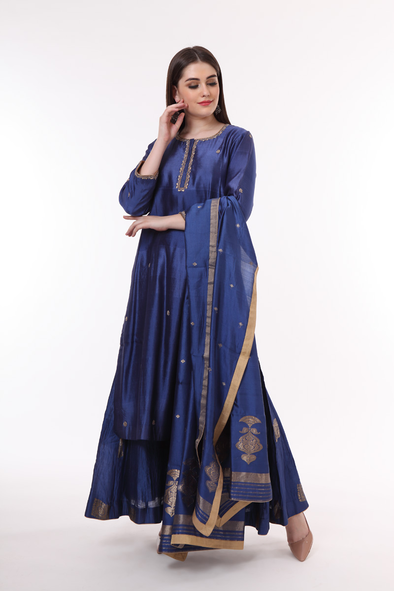 pure-hand-woven-chanderi-silk-dark-blue-suit-set