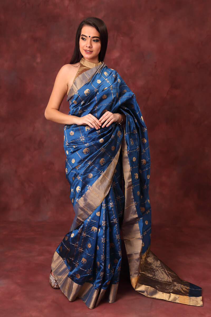 hand-woven-chanderi-indigo-blue-pure-pattu-silk-saree-with-eknaliye-chand-hathi-butis
