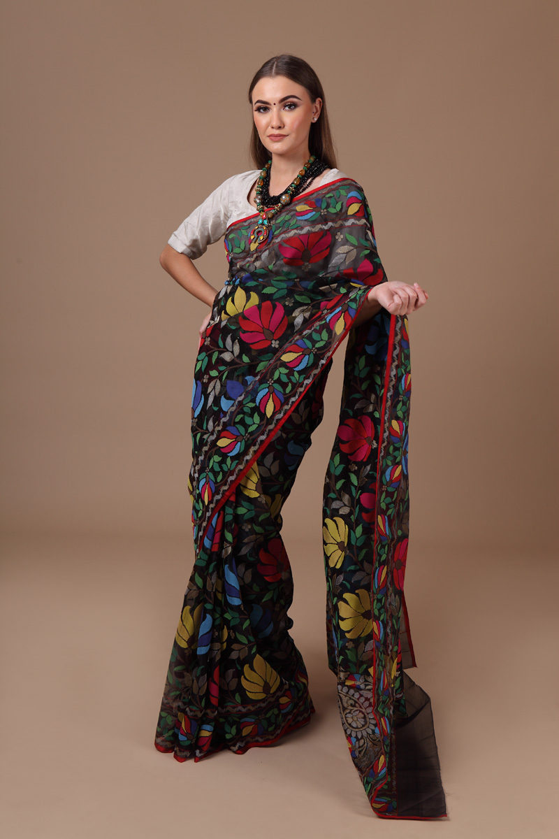 pure-hand-woven-benarasi-black-multi-coloured-real-zari-kora-silk-jamdani-saree