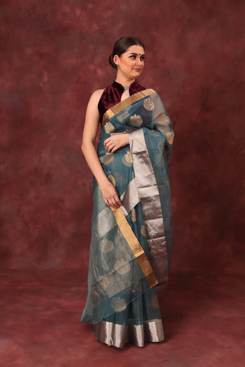 hand-woven-chanderi-peacock-blue-pure-katan-silk-saree-with-all-over-eknaliye-butis