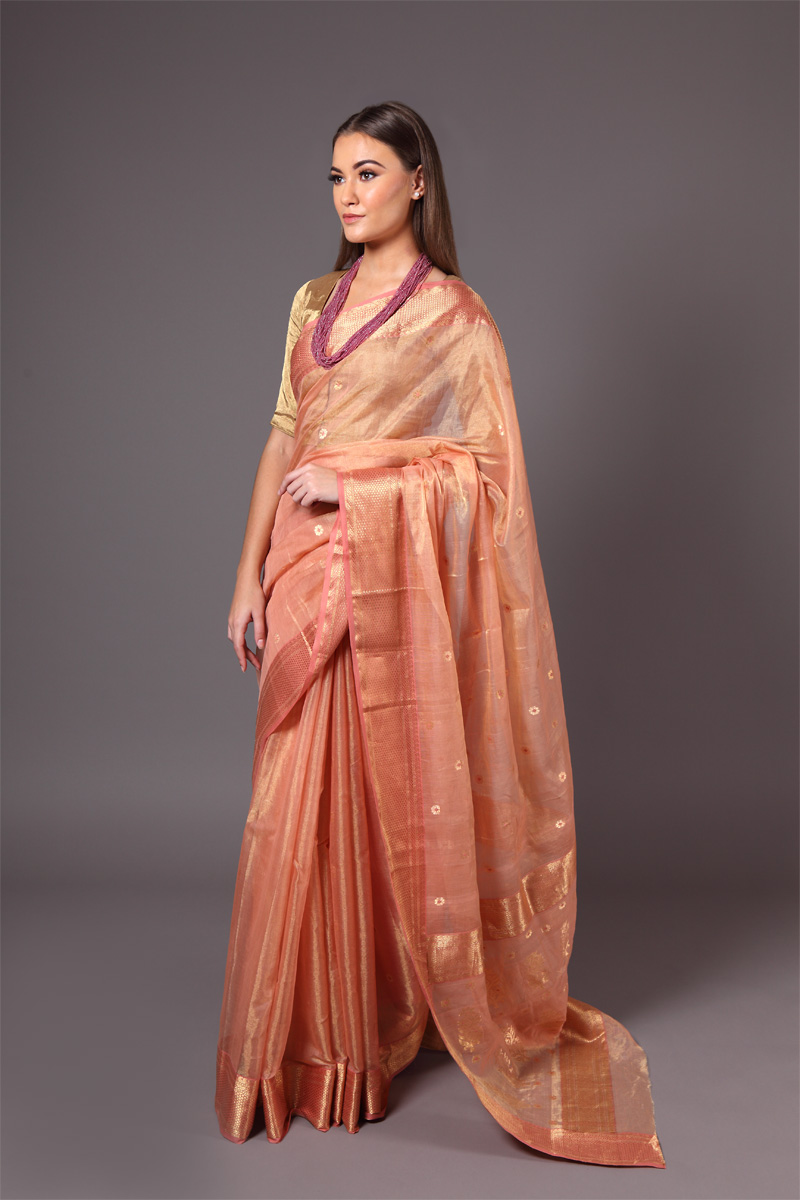 pure-hand-woven-peach-chanderi-tissue-muslin-silk-saree-with-eknaliye-butis