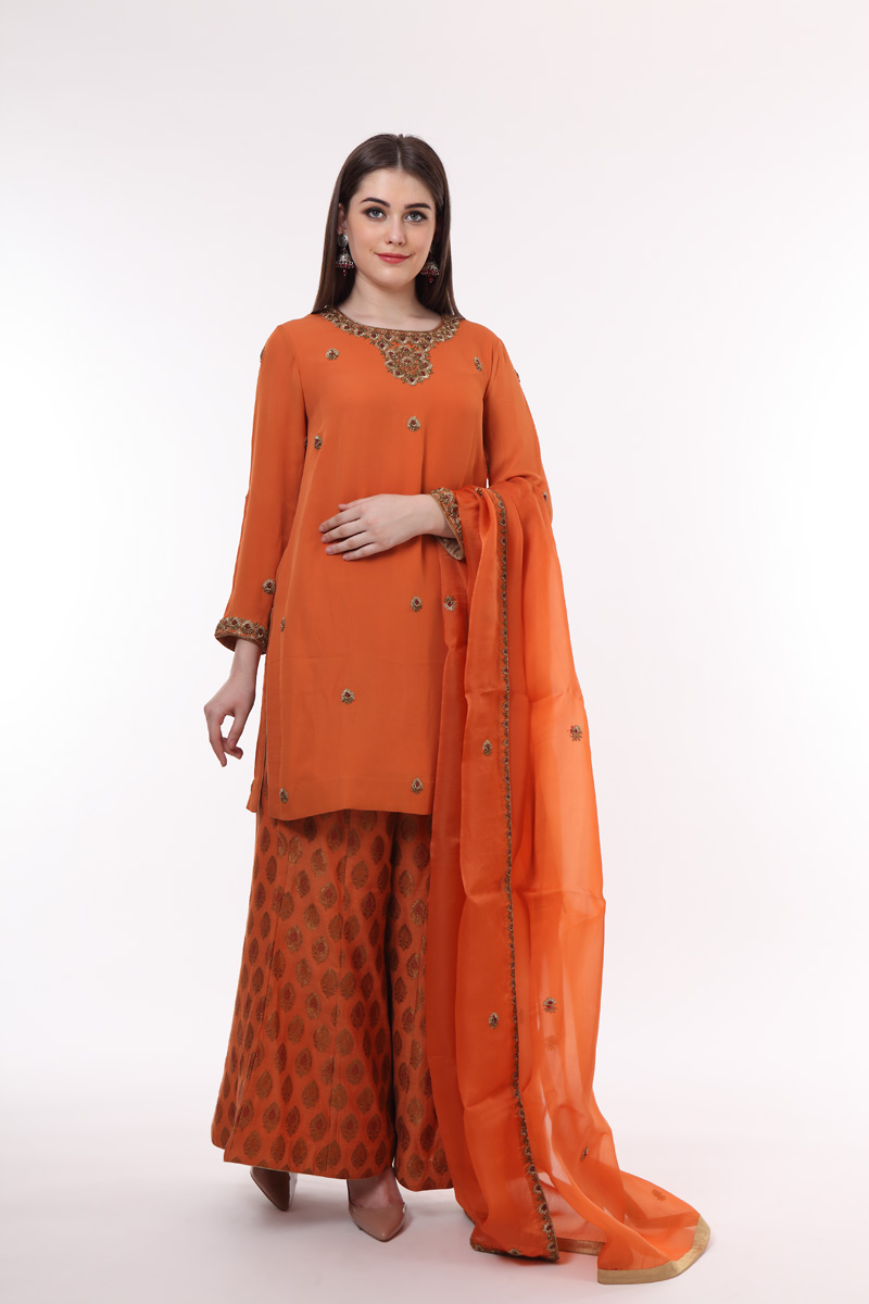 pure-crepe-georgette-burnt-orange-kurta-with-hand-woven-benarasi-sharara
