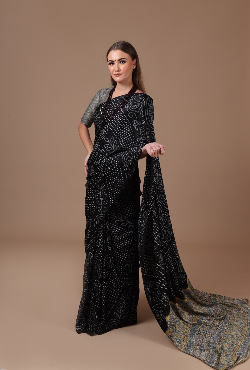 pure-gajji-silk-black-beige-natural-block-bandhej-ajrakh-saree