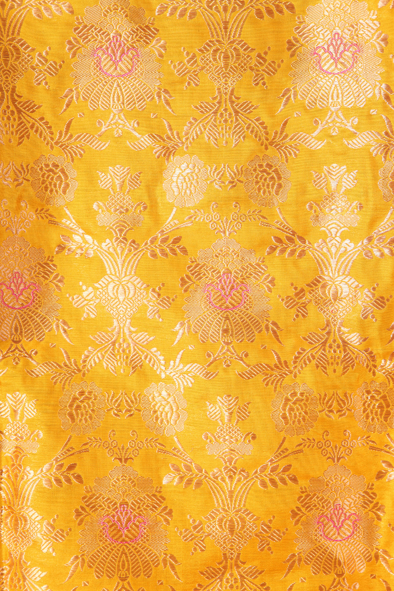 pure-hand-woven-mustard-yellow-benarasi-brocade-katan-silk-fabric-with-meena-jangla