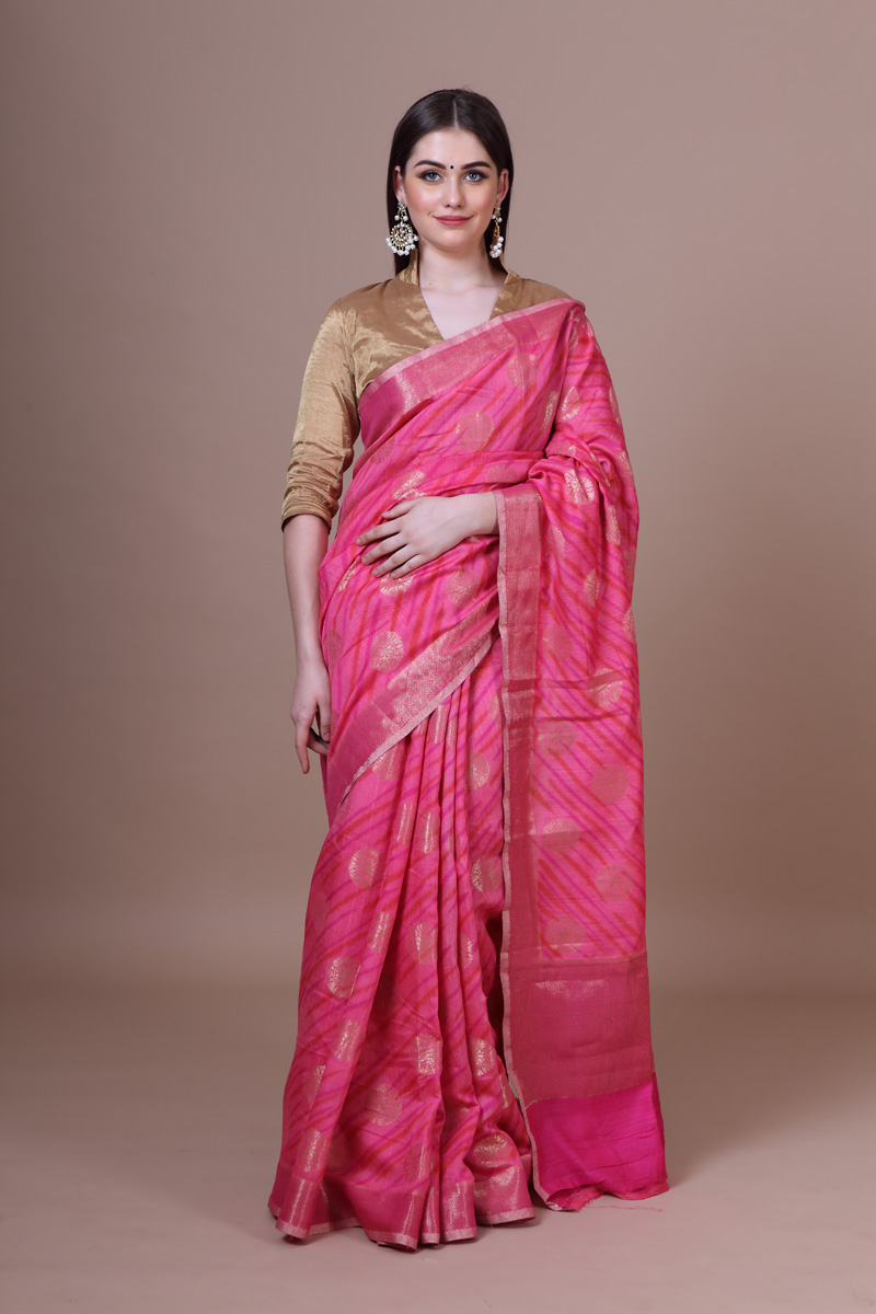 pure-hand-woven-benarasi-fuchsia-red-linen-silk-saree