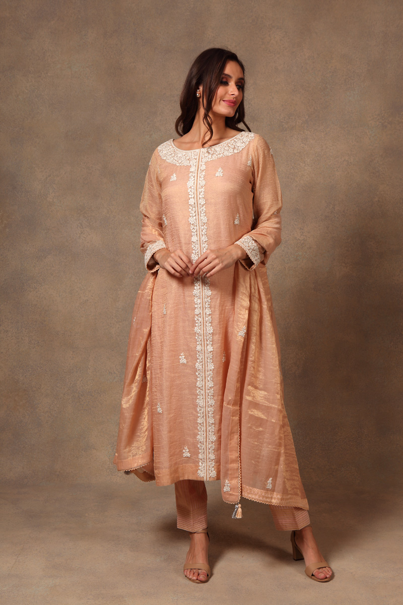 hand-embroidered-light-peach-chanderi-pure-silk-cotton-suit-set-with-zari-checks