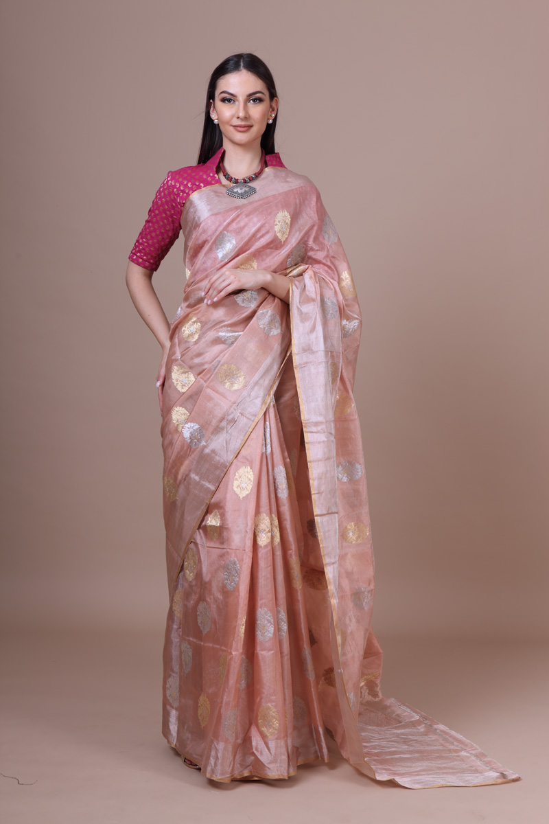 pure-hand-woven-light-peach-chanderi-tissue-silk-saree-with-eknaliye-butis