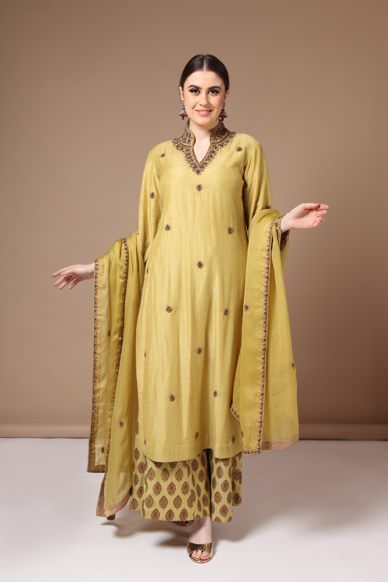 pure-hand-woven-muga-georgette-mustard-yellow-kurta-with-hand-woven-benarasi-sharara