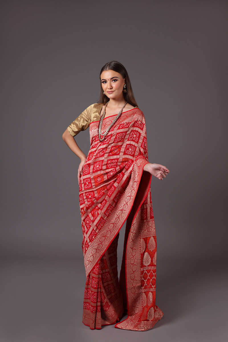pure-hand-woven-benarasi-georgette-tomato-red-gharchola-bandhej-saree