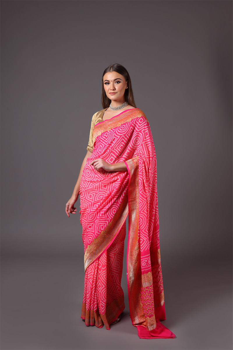 pure-hand-woven-benarasi-georgette-pink-ombre-bandhej-saree