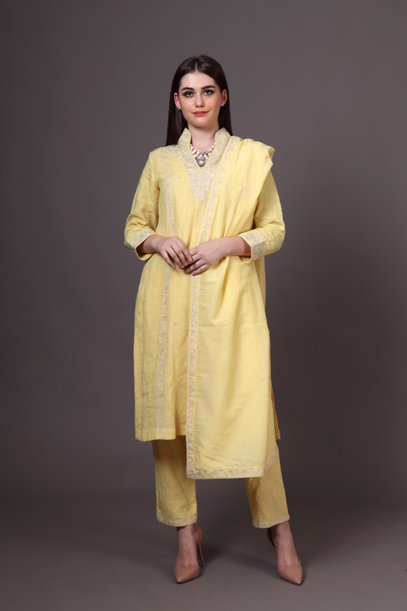 pure-hand-woven-mellow-yellow-linen-suit-set
