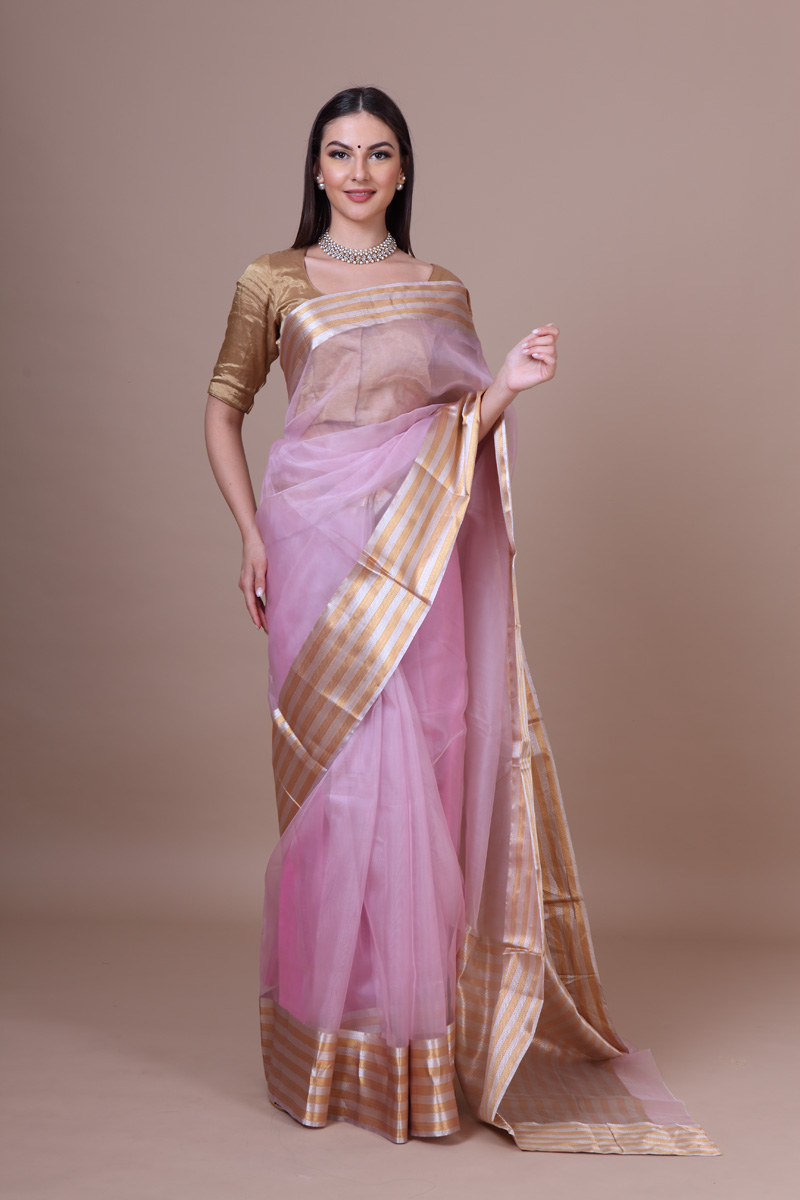 pure-hand-woven-chanderi-pink-katan-silk-saree-with-gold-silver-striped-pallav