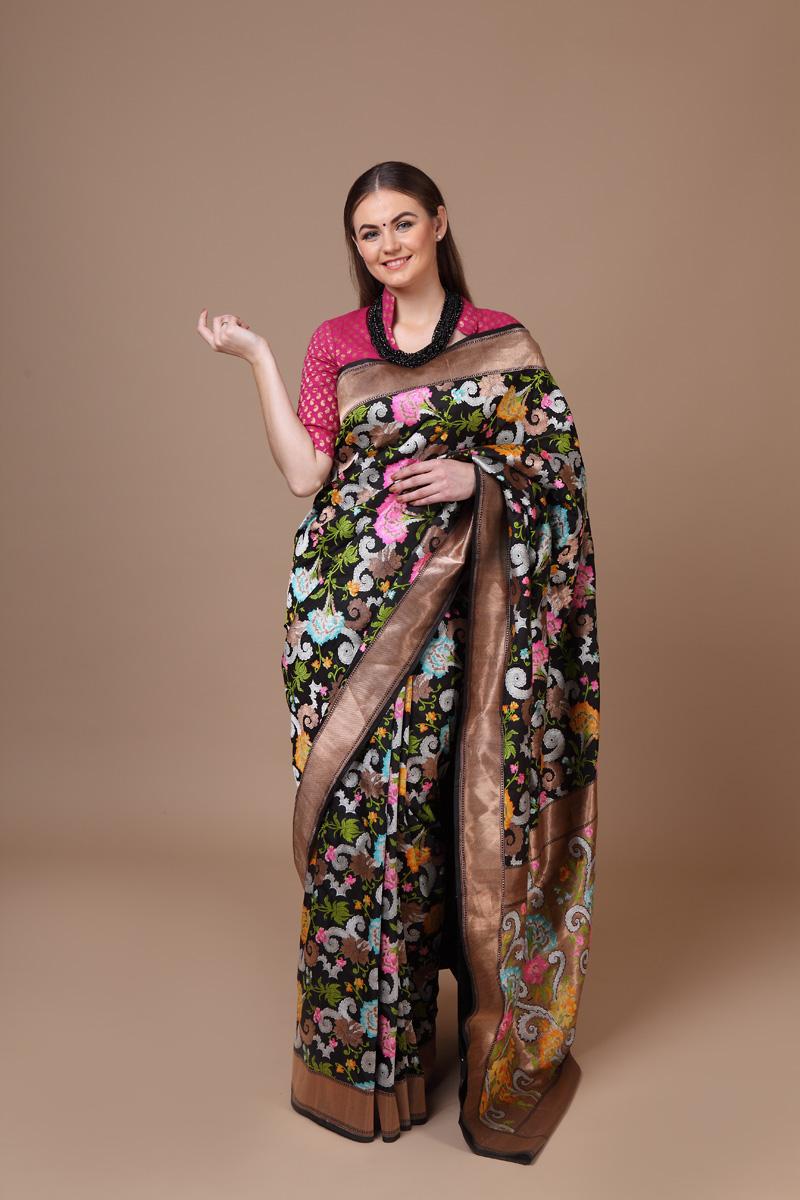 ca618473384cde Pure hand-woven benarasi black katan silk embossed saree