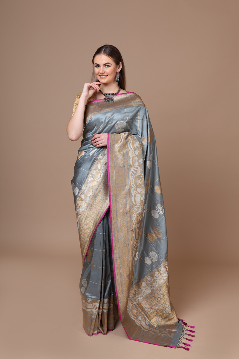 pure-hand-woven-benarasi-grey-katan-silk-saree-with-silver-gold-kadhwa-weave