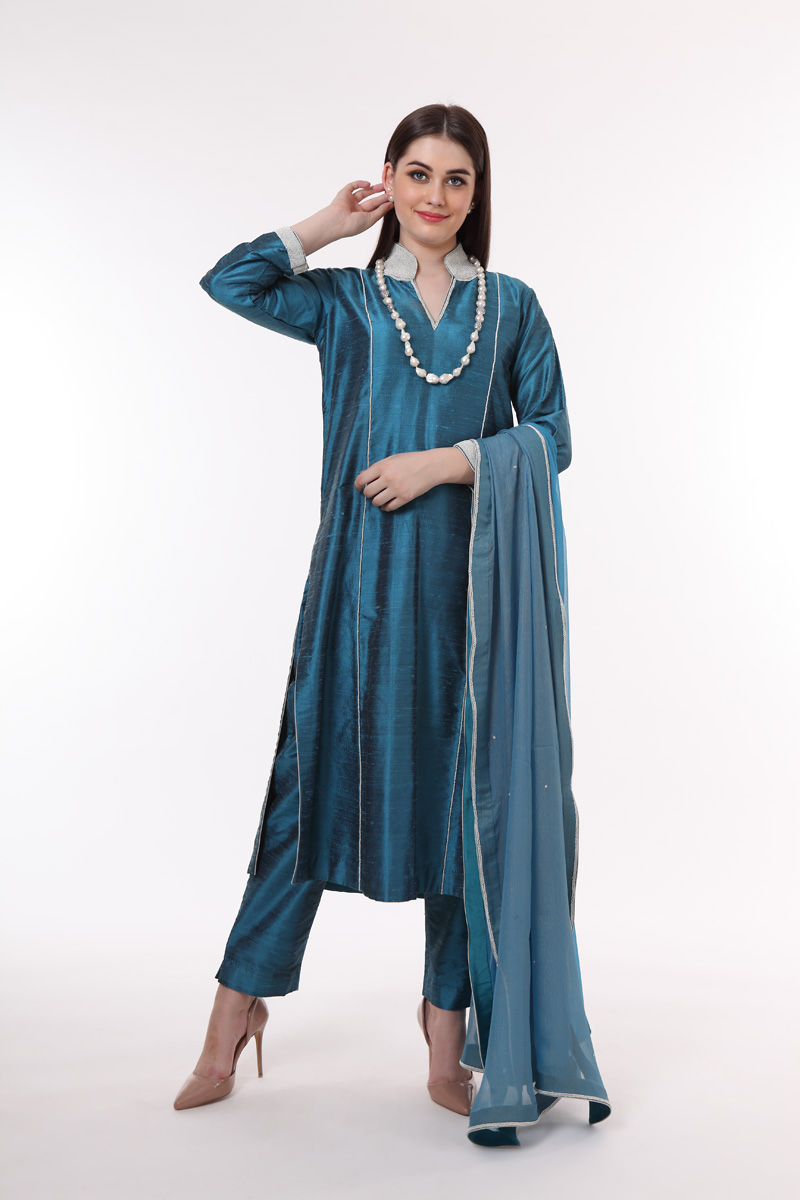 pure-hand-woven-blue-raw-silk-suit-set
