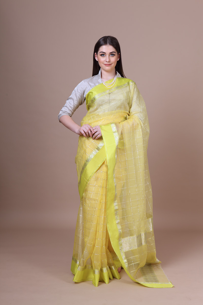 pure-hand-woven-lemon-yellow-chanderi-silk-saree-with-silver-checks