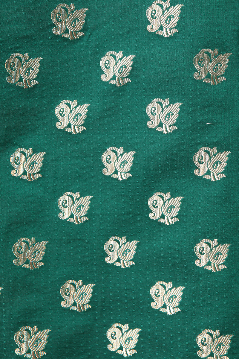 pure-hand-woven-benarasi-green-satin-tanchoi-silk-fabric-with-butis