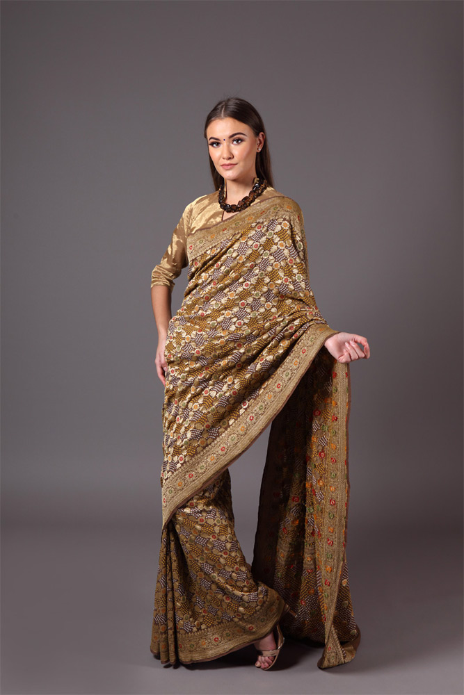 pure-hand-woven-benarasi-georgette-brown-bandhej-saree
