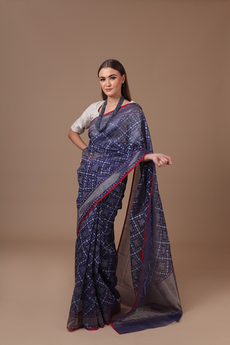 pure-hand-woven-benarasi-dark-blue-real-zari-kora-silk-jamdani-saree