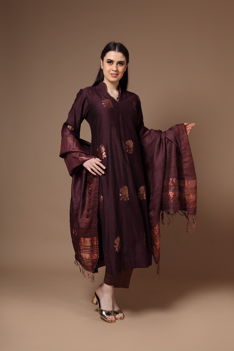pure-hand-woven-wine-muga-silk-kadhwa-buti-suit-set