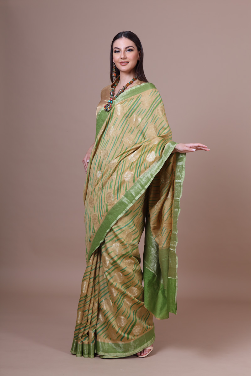 pure-hand-woven-benarasi-dried-moss-linen-silk-saree