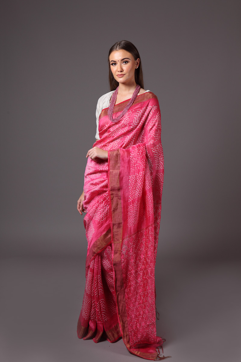 pure-hand-woven-pink-coloured-tussar-linen-saree