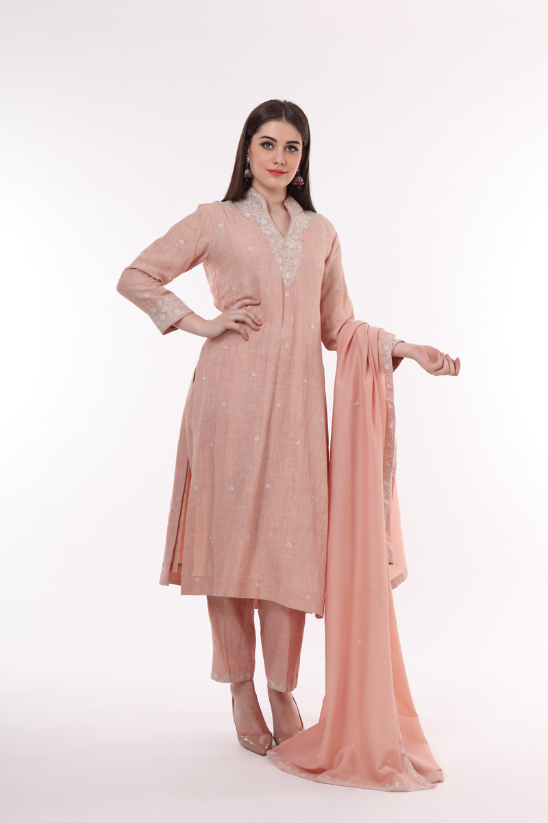 pure-hand-woven-dusty-pink-linen-suit-set-with-cotton-silk-dupatta