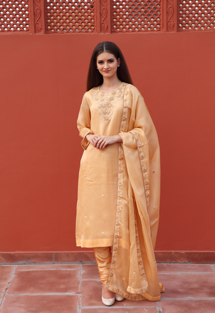 caramel-coloured-pure-silk-organza-suit-set