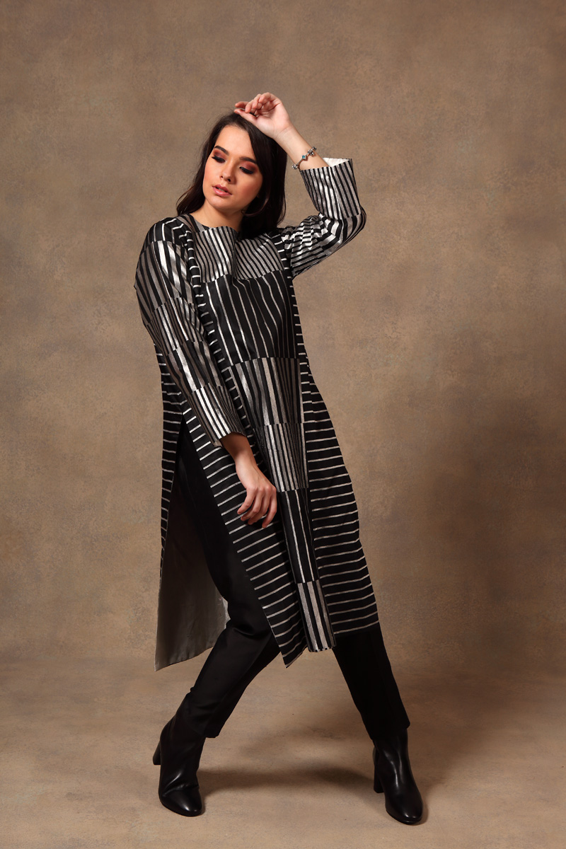 black-silver-hand-woven-pure-silk-brocade-tunic-with-silk-pants