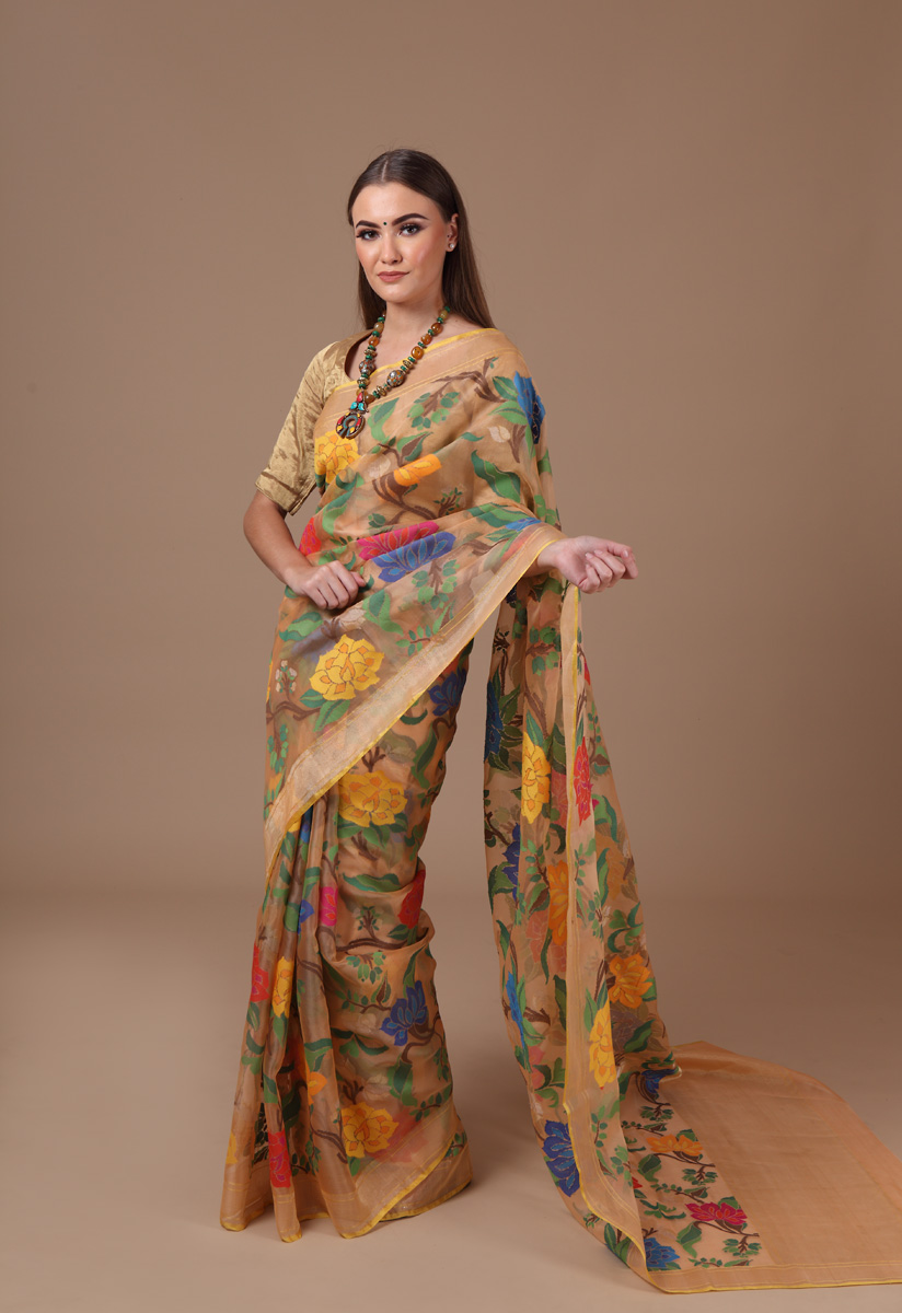 pure-hand-woven-benarasi-peach-multi-coloured-real-zari-kora-silk-jamdani-saree