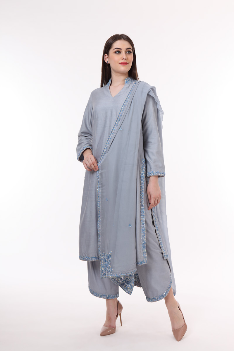 pure-hand-woven-dusty-blue-muga-georgette-kurta-with-tulip-farshi