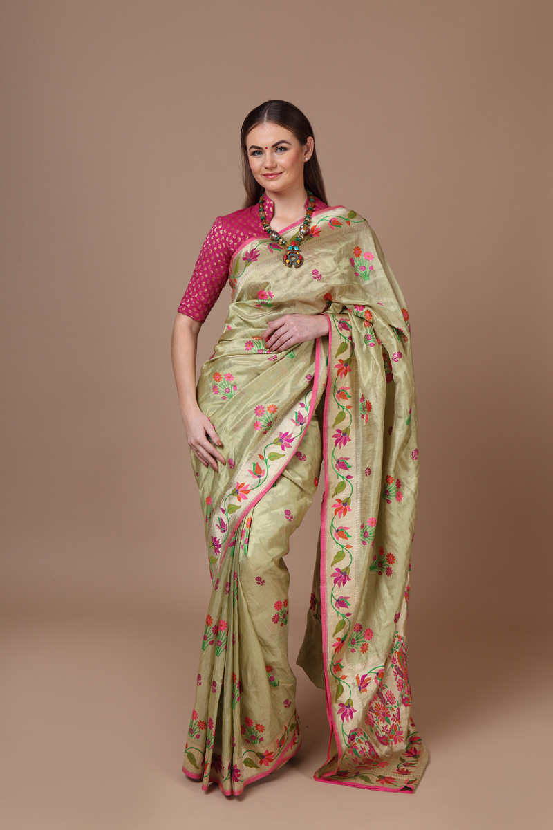 pure-hand-woven-benarasi-light-green-tissue-katan-silk-meenakari-saree